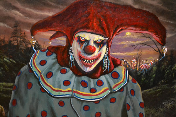 Original Creepy Scary Clown Oil Painting Circus On Canvas ... |Creepy Clown Painting